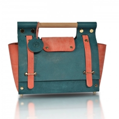 RAIKOU Damen Handtasche aus pflanzlich gegerbtem Leder italienische Lederwaren  Abendtasche Echt-Leder Schultertasche Umhängetasche schönes Vintage Design Vegetable-tanned leather handbag with wood handle